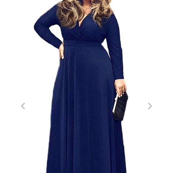 9e17c269209c NWT Poseshe Navy 3/4 Sleeve V-Neck Maxi Dress. M_5c755baa534ef9b94d082b95
